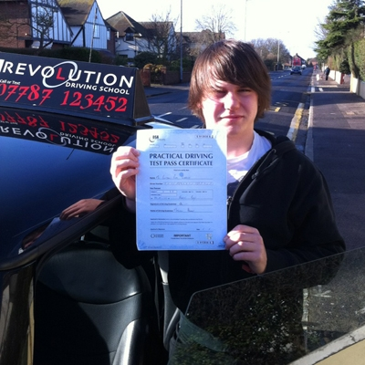 Image of Ben Sheeky with pass certificate - Revolution Driving School