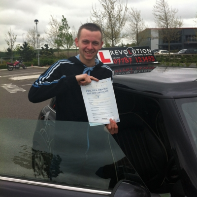 Image of Curtis Bezer with pass certificate - Revolution Driving School