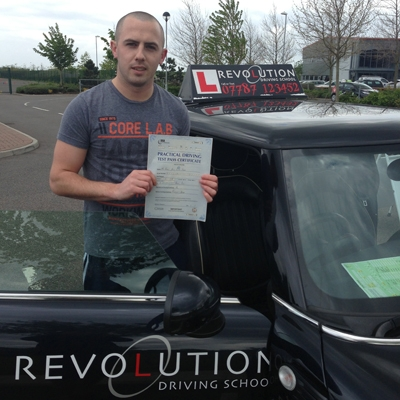 Image of Darren Bough with pass certificate - Revolution Driving School