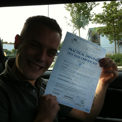Image of Darren Gooding with pass certificate - Revolution Driving School