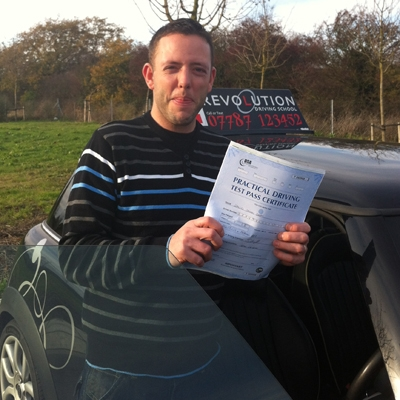 Image of David Dray with pass certificate - Revolution Driving School