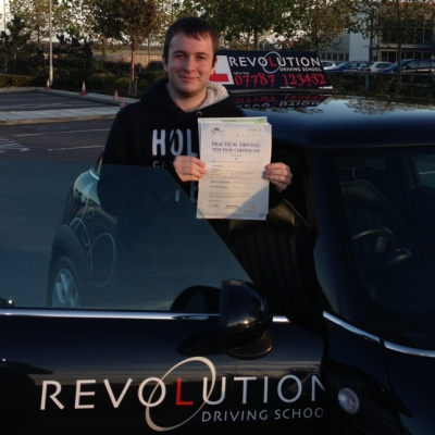 Image of Edd Addenbrooke with pass certificate - Revolution Driving School