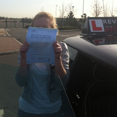 Image of Georgina Withington with pass certificate - Revolution Driving School
