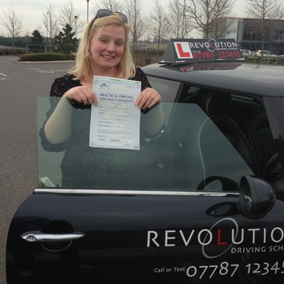 Image of Jessica Snelling with pass certificate - Revolution Driving School
