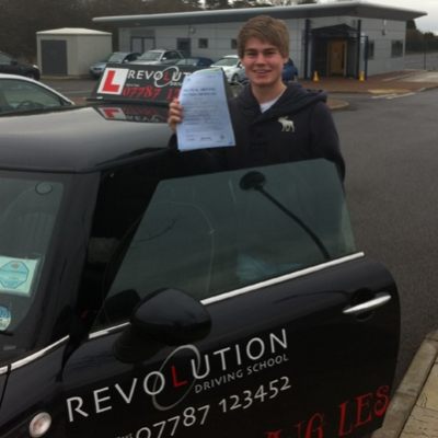 Image of Jordan Peters with pass certificate - Revolution Driving School