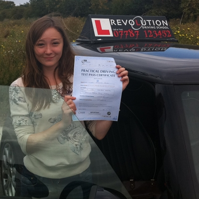 Image of Lauren Jane with pass certificate - Revolution Driving School