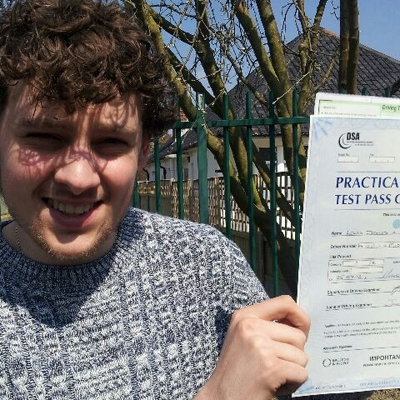Image of Lewis Addley with pass certificate - Revolution Driving School