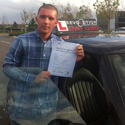 Image of Louis Williams with pass certificate - Revolution Driving School