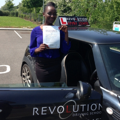 Image of Marion Ogessa with pass certificate - Revolution Driving School