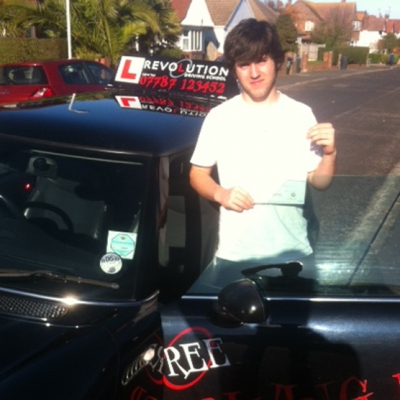 Image of Mathew Hazleton with pass certificate - Revolution Driving School