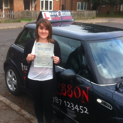 Image of Rebecca Marsh with pass certificate - Revolution Driving School