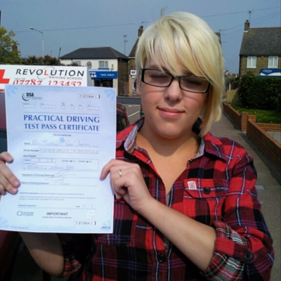 Image of Scarlet Darby with pass certificate - Revolution Driving School
