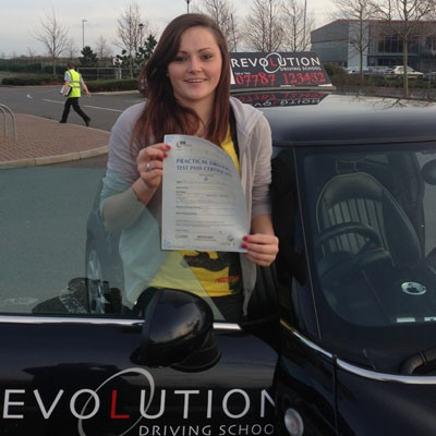 Image of Sophie Dyerson with pass certificate - Revolution Driving School