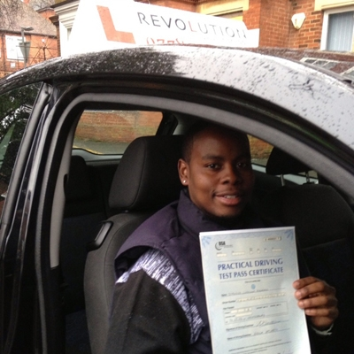 Image of Stanford Khualo with pass certificate - Revolution Driving School