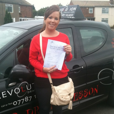 Image of Vicky Stamford with pass certificate - Revolution Driving School